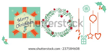 Illustrations on christmas theme, vector - stock vector