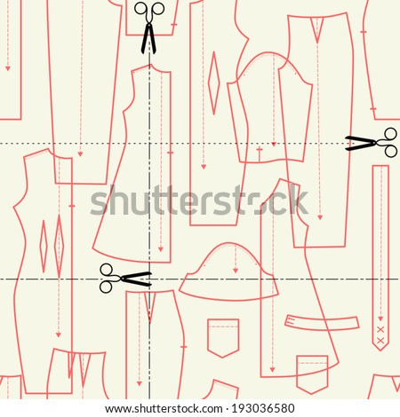 illustrations on the theme of sewing (elements cut). seamless vector pattern. - stock vector