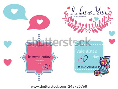 Illustrations on Valentine's day, love theme - stock vector