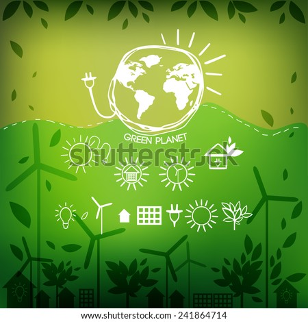 Illustrations with icons of ecology, environment, green energy and pollution. Vector.   - stock vector