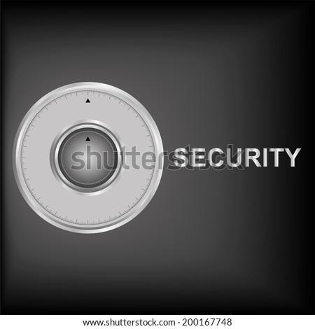 illustratiopn of combination lock on security background - stock vector