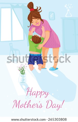 Illustrative greeting card for the International Mother's Day. A son brought flowers to his mom. - stock vector