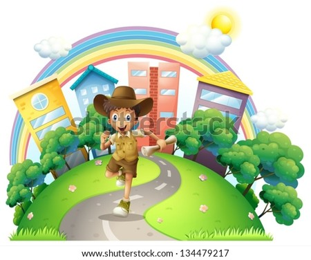 Illustraton of a boy running along the street on a white background