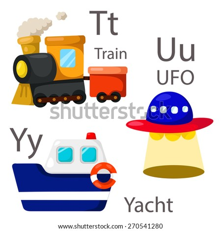 Illustrator for vehicles set 4 with Train, UFO and yacht - stock vector