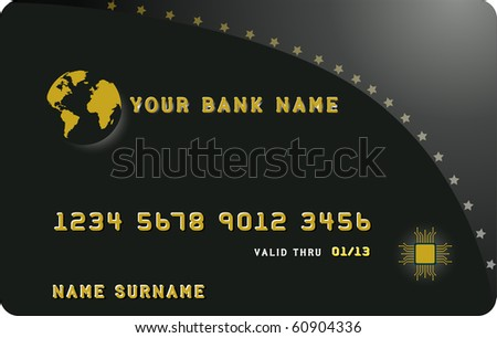 Illustrator of a black credit card - stock vector