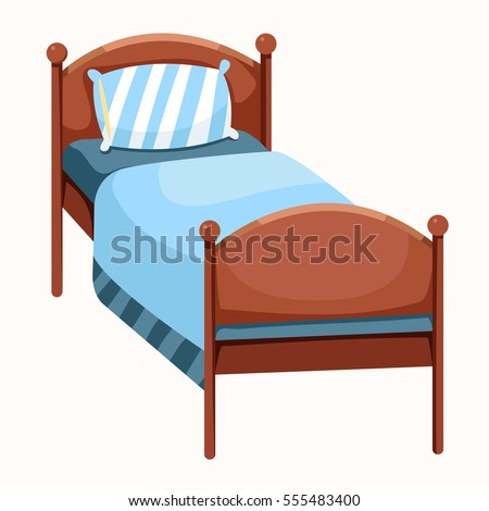 Wood Bed Green Blanket illustration Cartoon Wooden Stock ...