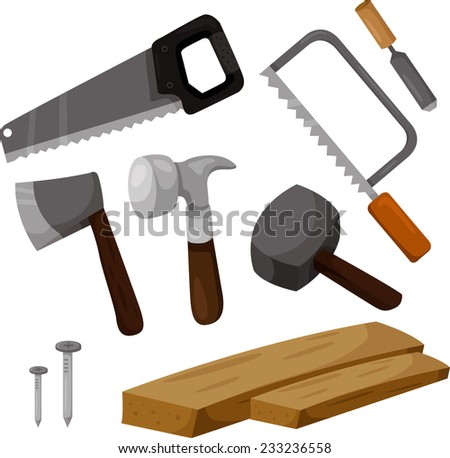 Illustrator of carpenter working tools - stock vector
