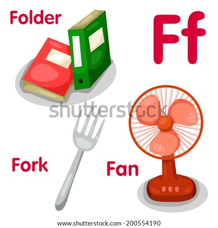 Illustrator of f alphabet - stock vector