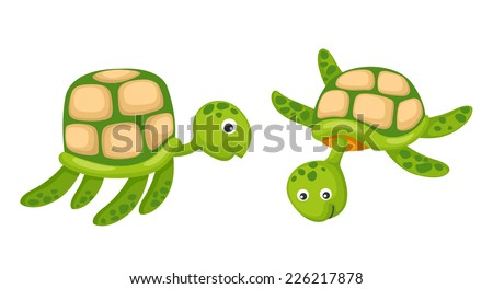 Illustrator of  isolated two turtle vector - stock vector