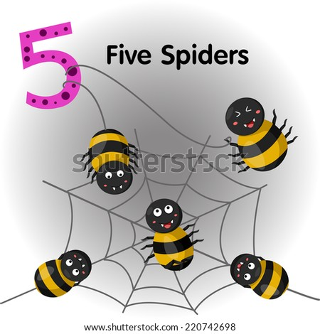 Illustrator of number five spiders - stock vector