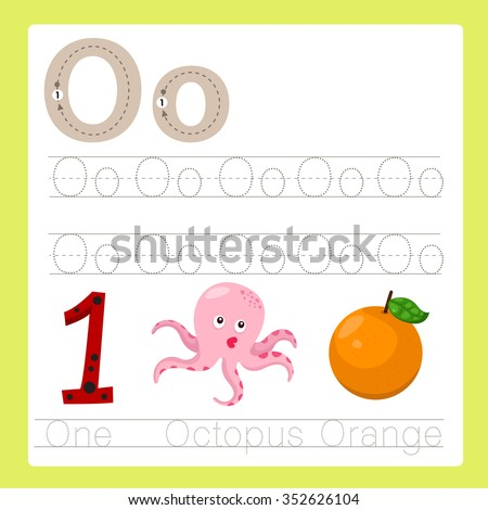 Illustrator of O exercise A-Z cartoon vocabulary - stock vector