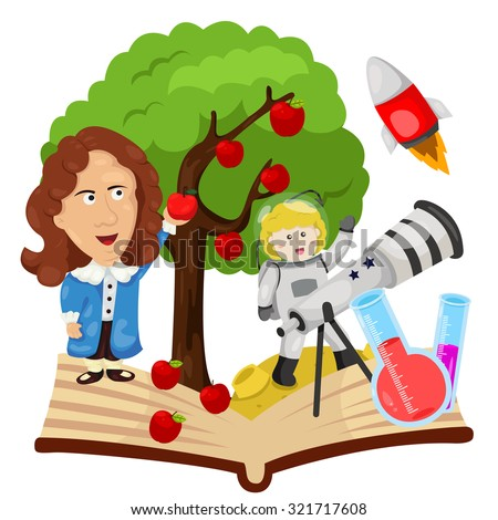 Illustrator of Sir Isaac Newton - stock vector