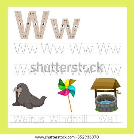 Illustrator of W exercise A-Z cartoon vocabulary - stock vector