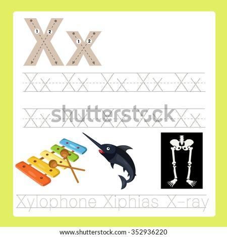 Illustrator of X exercise A-Z cartoon vocabulary - stock vector