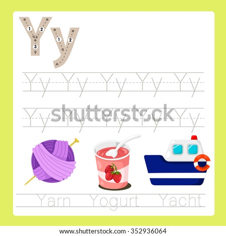 Illustrator of Y exercise A-Z cartoon vocabulary - stock vector