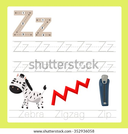 Illustrator of Z exercise A-Z cartoon vocabulary - stock vector
