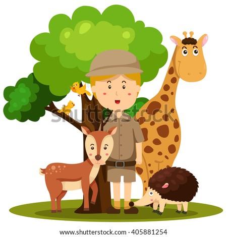 Illustrator of zoo keeper man - stock vector
