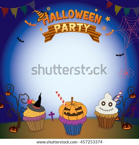 Illustrator vector of halloween cupcakes in holiday parties template for  invitation.Blank for your text or message.Dark background colors. - stock vector