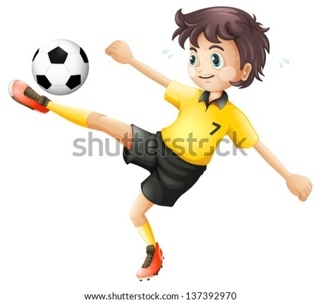 Illustrtaion of a boy kicking the soccer ball on a white background - stock vector