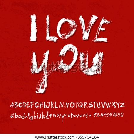 Ilove you hand lettering, handmade calligraphy, vector  - stock vector