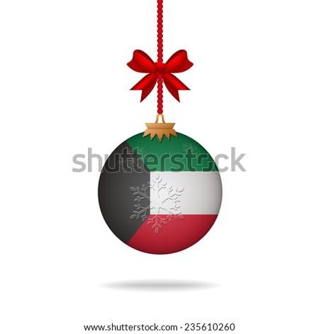 Ilustration christmas ball flag Kuwait - stock vector