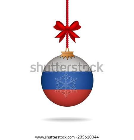 Ilustration christmas ball flag Russia - stock vector