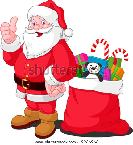 Ilustration for Christmas and New Year. Santa Claus. Bag with gifts. Vector - stock vector