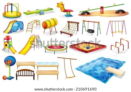 Ilustration of a set of equipment in a playground - stock vector