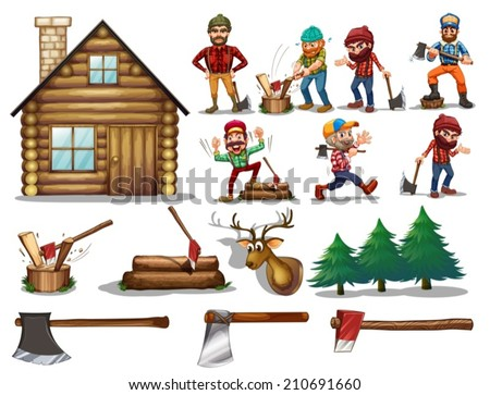 Ilustration of a set of lumberjack with actions - stock vector