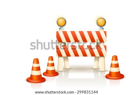 ilustration of symbols of restricted area which are in under construction - stock vector