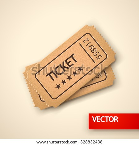 ilustration of two lying tickets on bright background  - stock vector