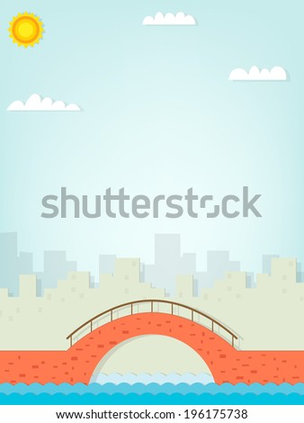 Image brick bridge on the background of the city on a sunny day - stock vector