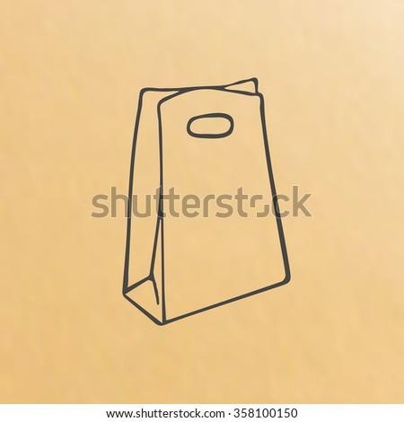 image cartoon of three brown paper bags - stock vector