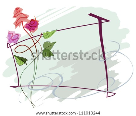 Image color roses, made in the style of hand-drawing, for greeting card - stock vector