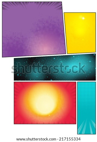 Image comic book pages with different background comic strips - stock vector