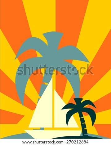 image for sea tourism card - stock vector