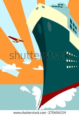 image for ship cruise presentation - stock vector
