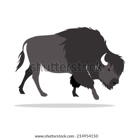 image graphic style of bison  isolated on white background - stock vector