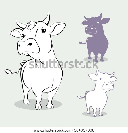 image graphic style of cow  isolated on white background - stock vector