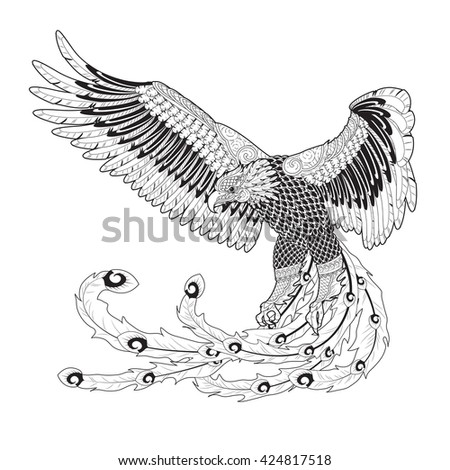 image graphic style of eagle in Thai art style for coloring isolated on white background