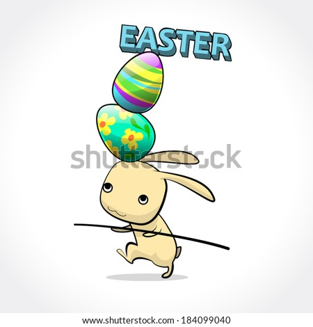 image graphic style of rabbit easter with painted egg  isolated on white background