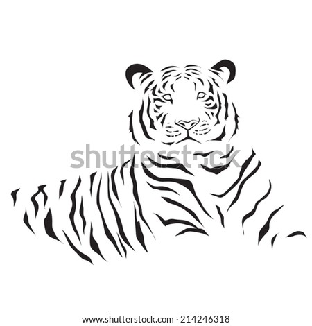 image graphic style of tiger  isolated on white background - stock vector