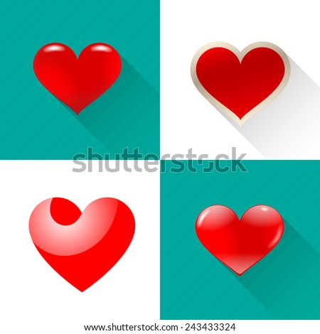 Image hearts of different shapes in the set. - stock vector