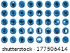 Image icons with blue buttons for computer and websites. - stock vector