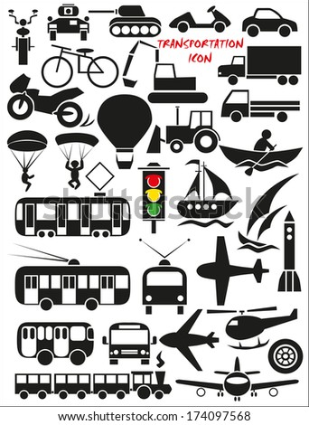 Image icons with different modes of transport - air, land and water. - stock vector