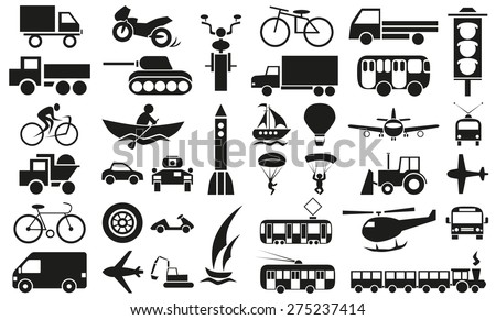 Image icons with different modes of transport - air, land and water on white background. - stock vector