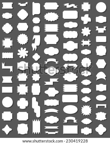 image labels and ribbons with different patterns on a gray background - stock vector