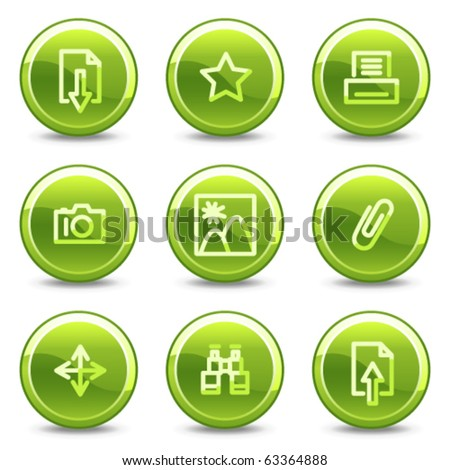 Image library icons, green circle glossy buttons - stock vector