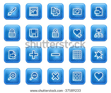 Image library web icons, blue square buttons with dots - stock vector