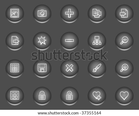 Image library web icons, metal circle buttons series - stock vector